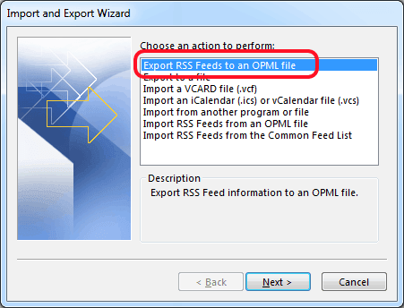 Export RSS Feeds to an OPML file option
