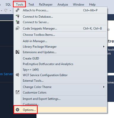 Visual Studio Tools/Option