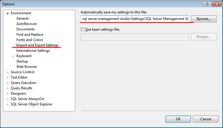 SQL Management Import and Export Settings