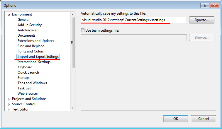 Visual Studio Import and Export Settings