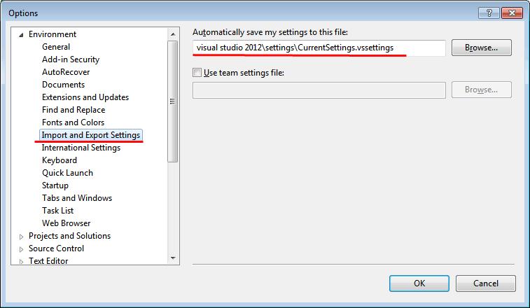 Visual Studio Import and Export Settings