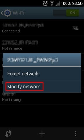 Tap Modify network