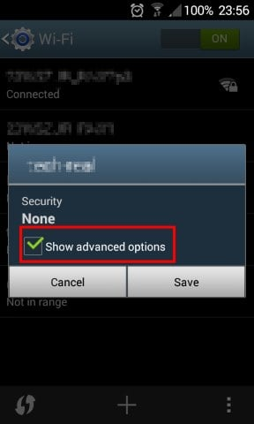 Select Show advanced options. Screen for not connected network