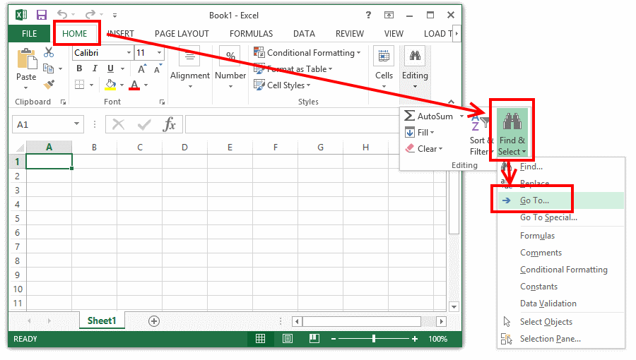 "Opening ""Go To"" window in Excel"