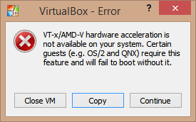 error vtx amd-v hardware acceleration