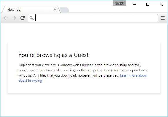 chrome browsing as a guest