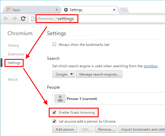 enabling guest browsing in chrome settings