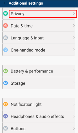 MIUI Additional settings window