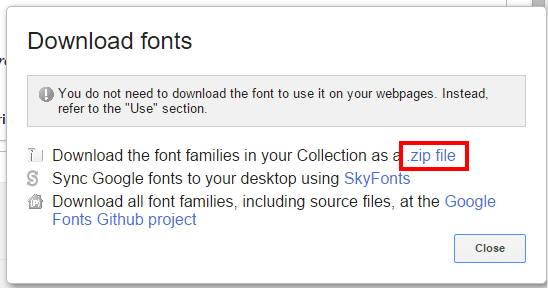 Using Google Fonts in Word Step 3