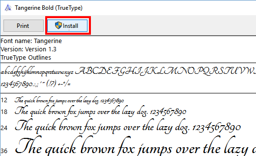 Using Google Fonts in Word Step 5