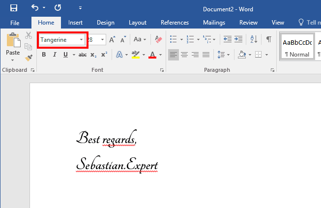 Using Google Fonts in Word Step 7