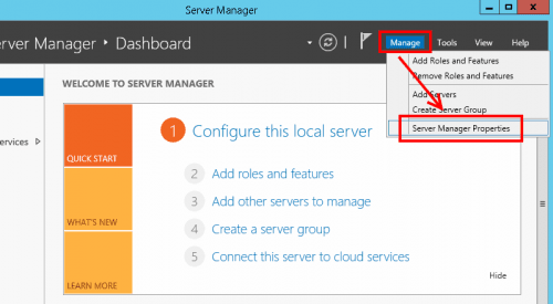 Disabling Server Manager startup - Manage menu Properties