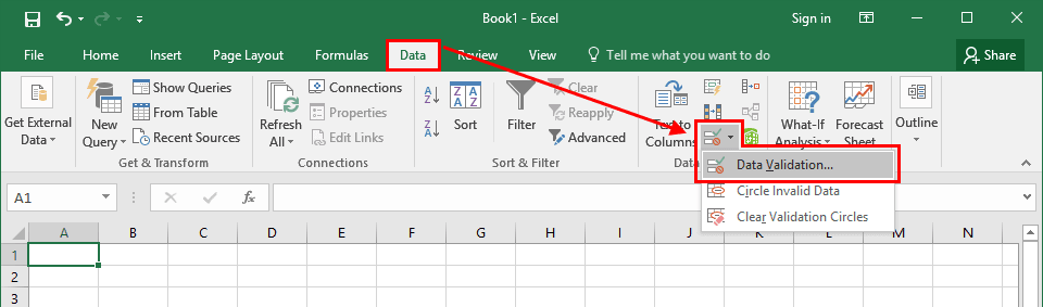Excel - Data -> Data Validation - Middle Size Window. Click to enlarge.