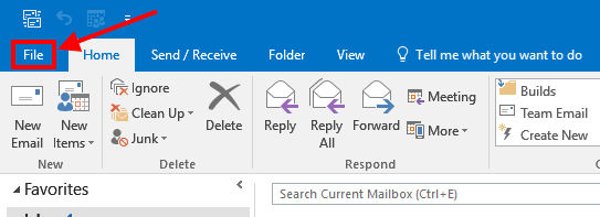 Outlook Main Ribbon
