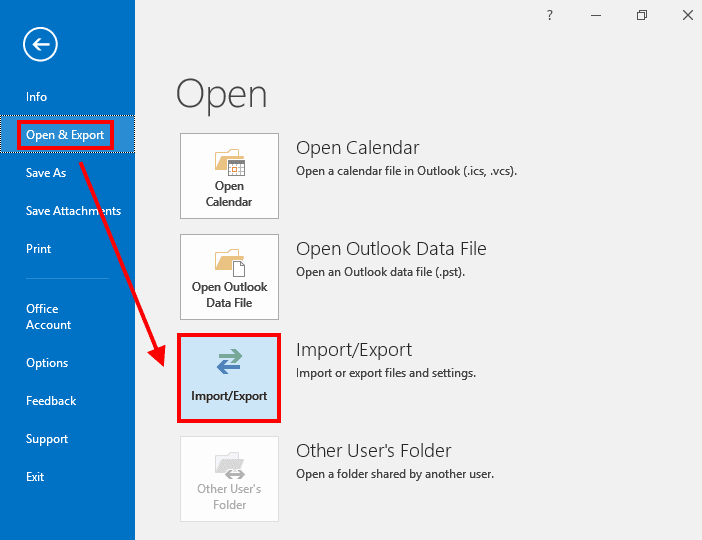 Outlook Open and Export Window