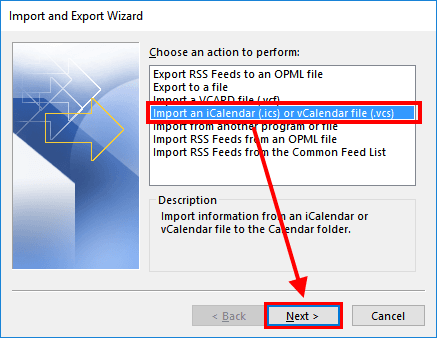 Outlook Import and Export Wizard