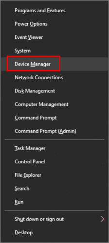 Windows X key- choose Device Manager
