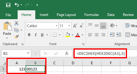 Adding leading zeros in Excel by DEC2HEX and HEX2DEC functions