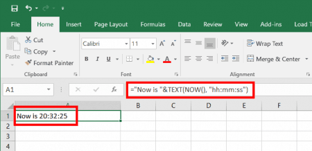 excel-now-text-function