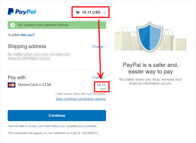 paypal - confirmation