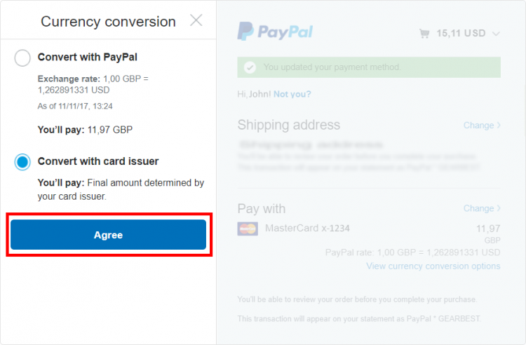 paypal - currency conversion