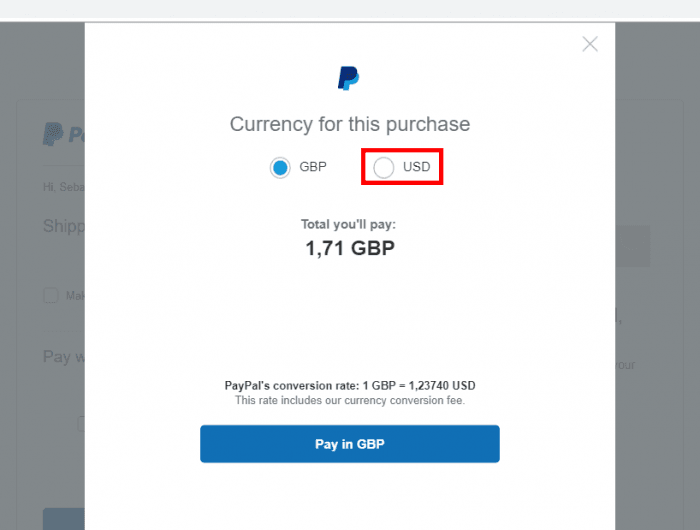 PayPal - Currency Window