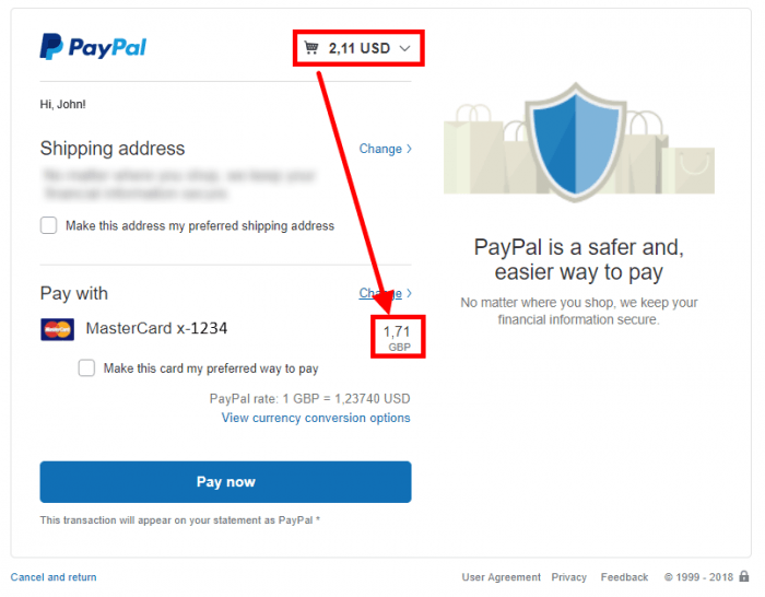PayPal - Payment Window