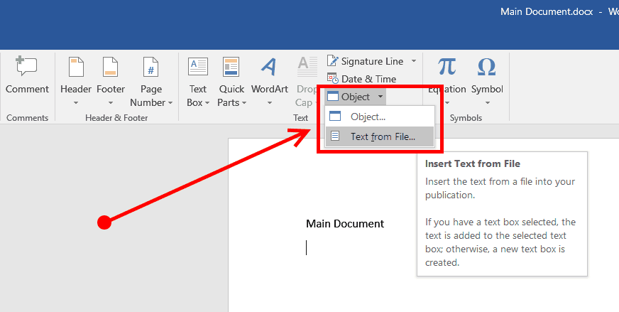 Insert Text From Other File or Document Into Word Document ...