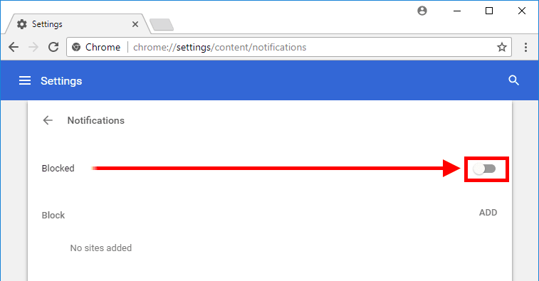 Chrome - Blocked Notifications Option