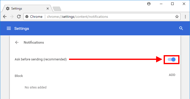 Chrome - Settings/Content/Notification window