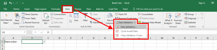Excel - Data Validation Item for Medium Size Screen