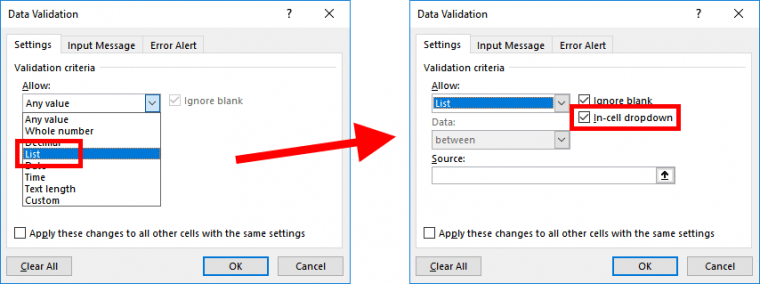 Excel - Data Validation