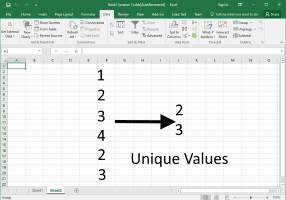 Getting unique/distinct values from a column in Excel