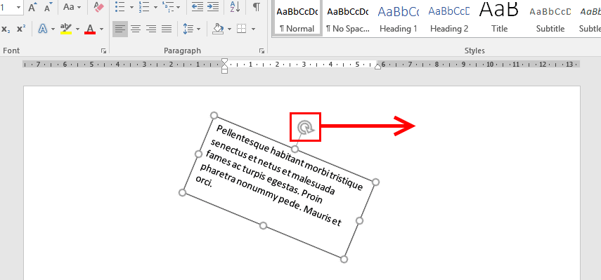 how to write text on arrow in word