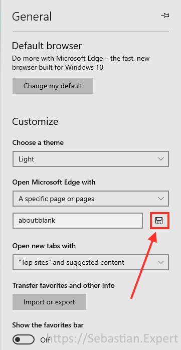 How to set Start Page and New Tab to Blank in Microsoft Edge