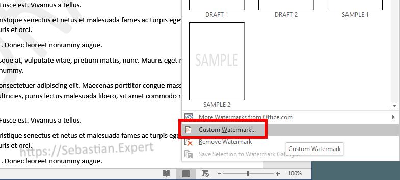 Customize watermark