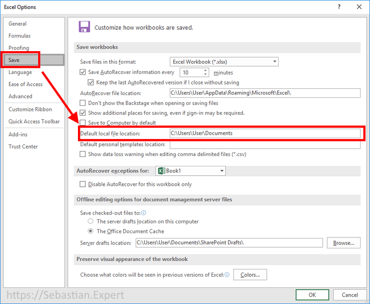 change default office save path options