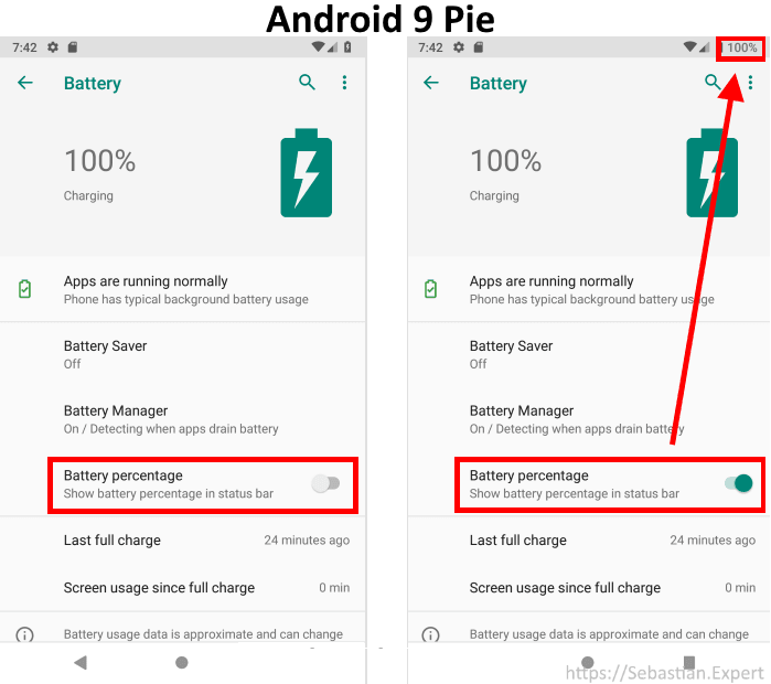 Android Pie Battery Options