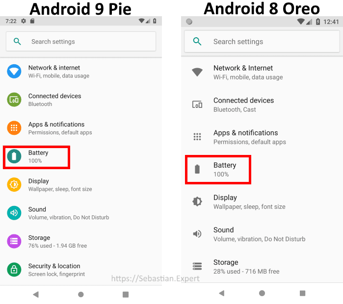 Android Oreo and Pie Settings List