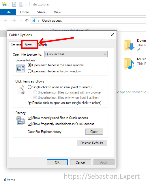 Folder and Search Options - General tab