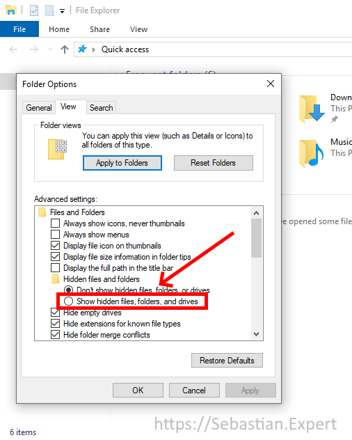 Folder and Search Options - View tab