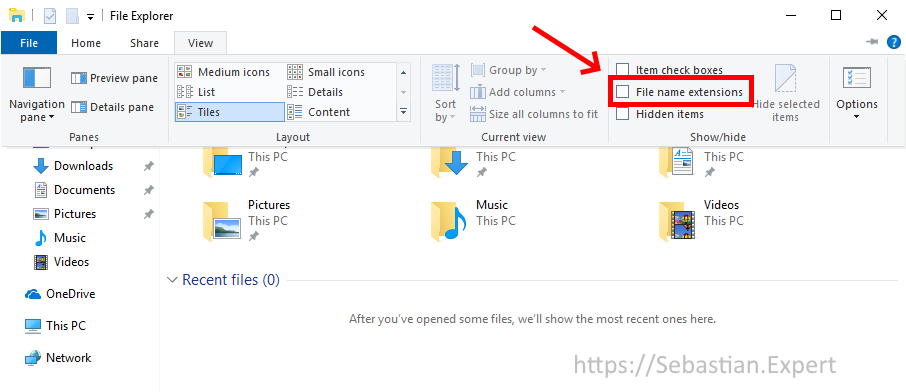 File Explorer - View tab